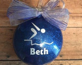 Personalized Swimmer Glitter Christmas Ornament/ Swim Team/ Swim