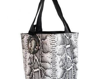 Natural python leather tote / exotic / natural snake effect tote / contrasted handle / contrasting handles / graphic purse / bag