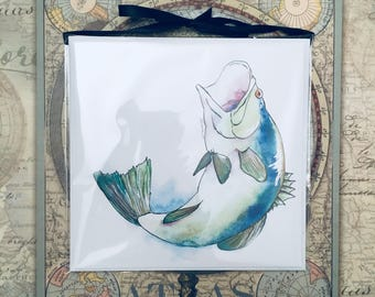 The Big One 3-Pack - Watercolor Bass Fish Square Blank Note Card Set