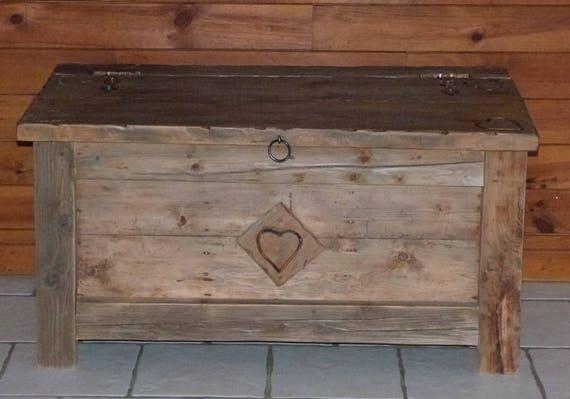 COFFRE MALLE ARTISANALE vieux bois 100% écologique deco chalet