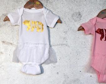 Baby Bear Girl's tutu Bodysuit, Baby Shower Gift, Gift for Newborn Baby, Gift for Toddler, Gift for baby