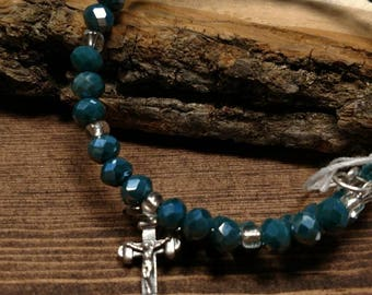 Memory Wire Teal Green Faceted Glass Beaded Bracelet