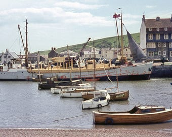 A4 framed print of the MV Friesenland at Bridport Harbour, West Bay