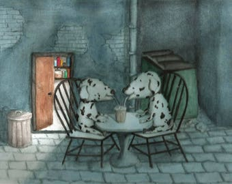 Puppies in love watercolor painting, moonlight painting,Art for kids room