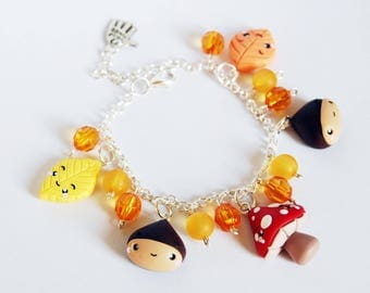 Charms bracelet autumn in fimo-Kawaii Collection Autumn