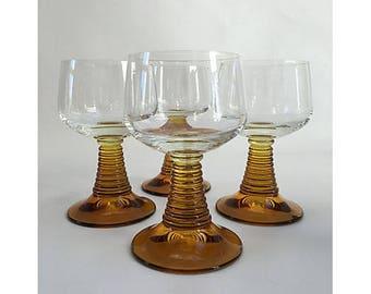 Roemer Wine Glasses, Set of 4,  Vintage Roemer Wine Glasses