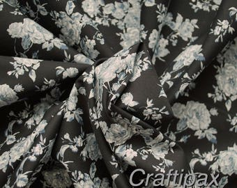 Cotton Fabric - Rose and Hubble - Black/Grey Vintage Style Floral - Quilting, Sewing, Patchwork - UK Seller - Fat Quarter, Half Metre, Metre