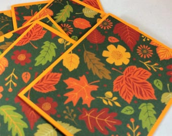 Set of 6 handmade blank notes cards leaves fall autumn