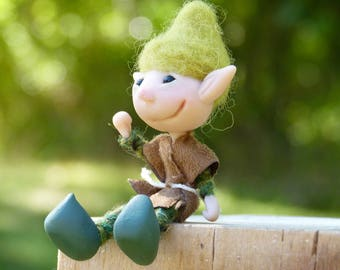 OOAK Miniature Elf Doll,  Poseable Pixie Doll, Polymer Clay Boy Doll with Green Hat and Brown Jerkin
