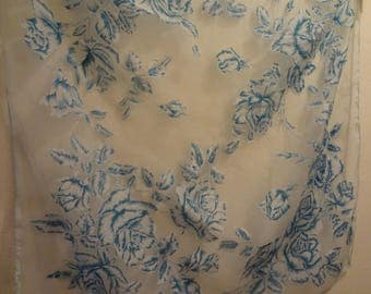 """Lovely Blue Floral Chiffon Scarf Vintage"""""""