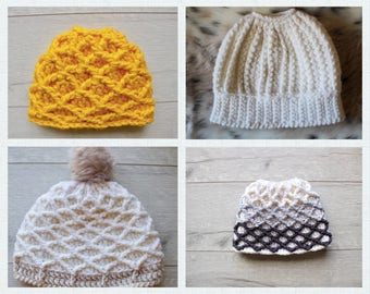 Pattern Bundle, Bun Beanie Pattern, Crochet Pattern, Beanie Pattern, Crochet, Patterns, Hat Pattern, PDF Patterns, Ponytail Hat Pattern,