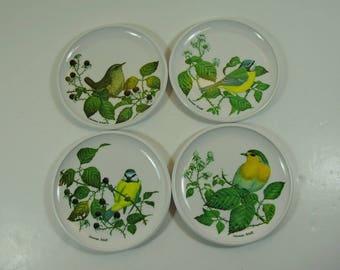 4 Vintage Praesidium Melamine Coasters Featuring British Birds, Drink Coasters,