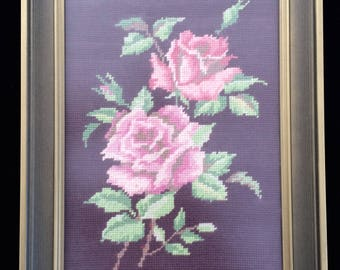 Gobelin Picture. Framed Gobelin Pink Roses Picture. Vintage Tapestry Picture in Gilded Frame. Pink Roses Needlepoint Picture ROP0239