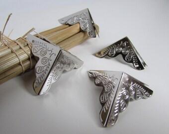 4 coin de protection pour meuble en métal argenté, bronze - 25 mm de côté