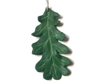 Green Fantasy Oak Leaf Pendant