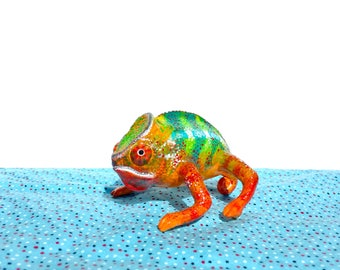 Colorful Chameleon Polymer Clay Figurine