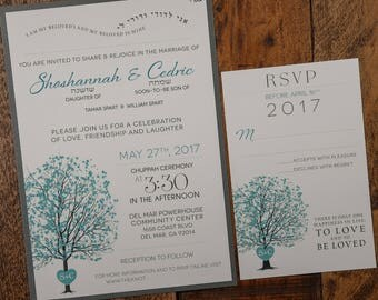 Tiffany Blue And Silver Wedding Invitation, Tree Invitation, Jewish Invitation, Tiffany Blue Invitation, Tree Wedding Invitation, Modern