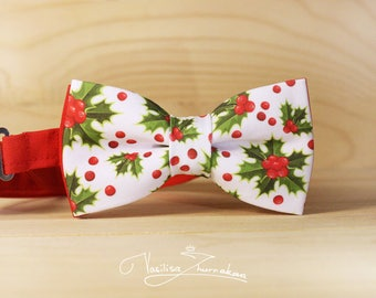 Holly Bowtie Christmas pattern, Xmas bow tie, New Year's gift, Xmas gift, Holiday accessories