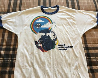 Vintage Rainbow and Hot Air Balloon Men's Ringer Tee Size XL
