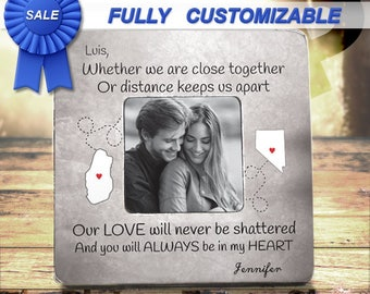 Long Distance Relationship Frame Gift For Boyfriend Girlfriend Fiance Personalized States Frame Gift For Boyfriend Girlfriend True Love Gift