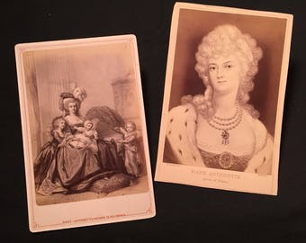 Pair of Antique Cabinet Cards of Marie Antoinette, 19th Century Cabinet Cards, Queen of France