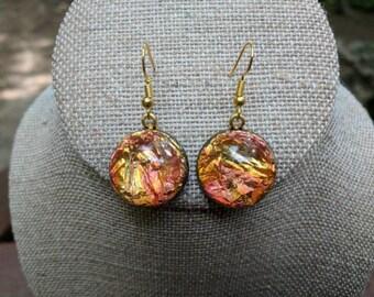 Vintage Sunset Foil Cabachon Drop Earrings
