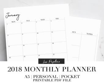 2018 Monthly Planner, Month On Two Pages, 2018 Planner, Monthly Planner Inserts, Printable Planner, MO2P, A5, Personal, Pocket
