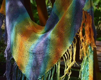 "Cotton shawl ""Rainbow"""