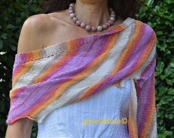"Set ""Summer cotton shawl + necklace with raku pearls"""