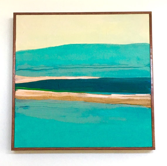 Modern Abstract Seascape Original Painting Turquoise
