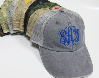 Monogram Embroidered Washed Pigment Dyed Twill Trucker Cap