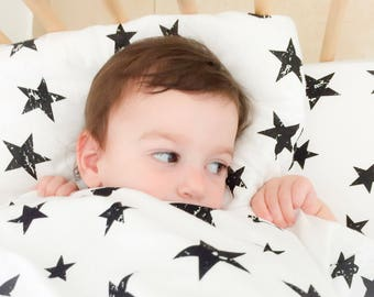 Stars Crib Pillow Toddler Bedding for Gender Neutral Nursery Decor