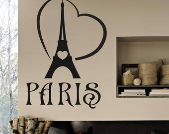 Paris wall decal, Eiffel Tower wall decal, I Love Paris wall decal, Paris wall art, Home decor, Paris wall vinyl, Paris word wall decal 288