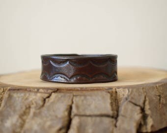 Tooled Leather Cuff,Brown Leather Bracelet,Brown Leather Cuff,Genuine Leather Bracelet,Leather Bracelet,Vegetable Tanned Leather Cuff,
