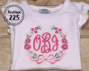 Monogrammed floral baby ruffle bubble outfit