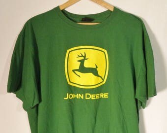90s John Deer t shirt// Vintage farmer gardener green thumb work tractor graphic tee green cotton// Mens XL