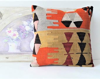 Sofa pillow, vintage kilim pillow, living room decoratioon, wool cushion cover