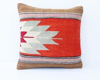 Sofa Pillow, Vintage Kilim Pillow, Living Room Decoratioon, Wool Cushion  Cover