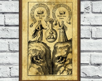 Man and woman, Alchemy poster, Coitus illustration, sacred print, Ancient art, alchemy art, medieval print, magick, esoteric home decor