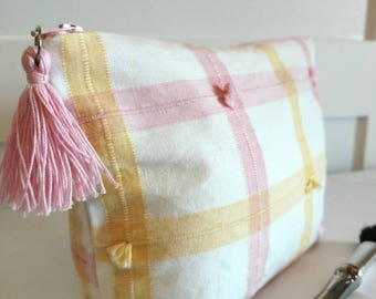 Pink Yellow makeup bag, pink Yellow cosmetic bag, pink tassel toiletry bag, tassel zipper pouch, teacher gifts, thank you gifts for her,