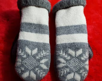 Handcrafted Snowflake Mittens From Recycled Wool Sweaters, Soft and Toasty Warm, One of a Kind