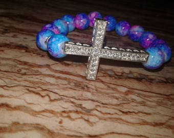 Women's Pink and Blue Cross bracelet