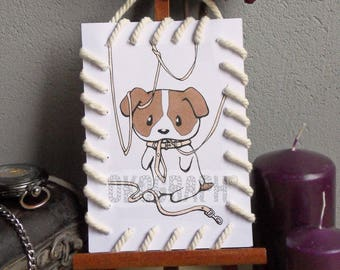 Card drawing / illustration of dog Matted with string effect 'bag' style graphic manga / comic / kawai