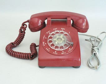 Red 1970s Rotary Telephone
