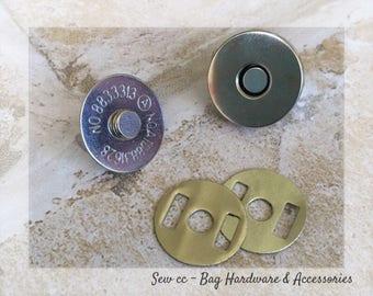 18mm Magnetic Snaps (1 SET) - Nickel Magnetic Snaps - Bag closures - Bag snap - Sew cc bag hardware & accessories
