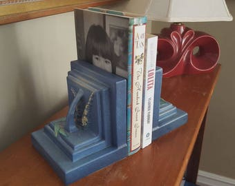 Roseville Foxglove blue bookends