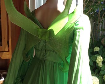 Fairy ,woodland fairy  ,Tinkerbell Dress with wings ,elf costume ,Cosplay , poison ivy costume,long green vintage dress size 12