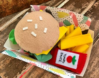 burger and chips with tomato sauce felt play food, montessori toys