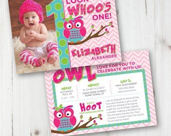 Girl Owl First Birthday, Owl Birthday Party, Owl Printable Invitation, Owl First Birthday, 1st Birthday, Pink, Birthday Invite, Owl