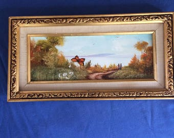 OIL PAINTING on board, signed, matted, & framed of Landscape.